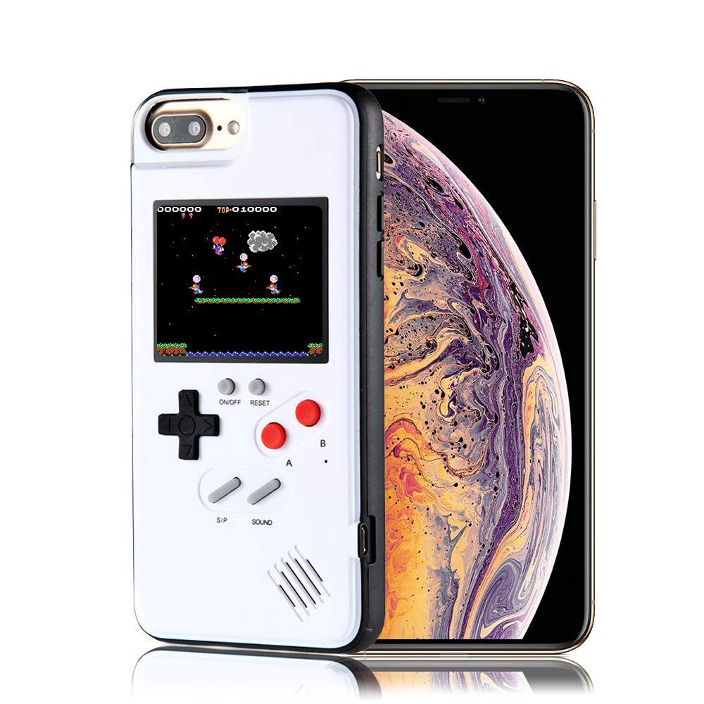 Game Console iPhone Case, Handheld Game Console Case Cover with 36 Games Phone Case (iPhone Xs max, White)