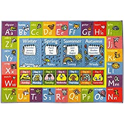 "KC CUBS KCP010019-8x10 Playtime Collection Abc Alphabet, Seasons, Months and Days of the Week Educational Learning Area Rug Carpet for Kids and Children Bedrooms and Playroom (8' 2"" x 9' 10"")"