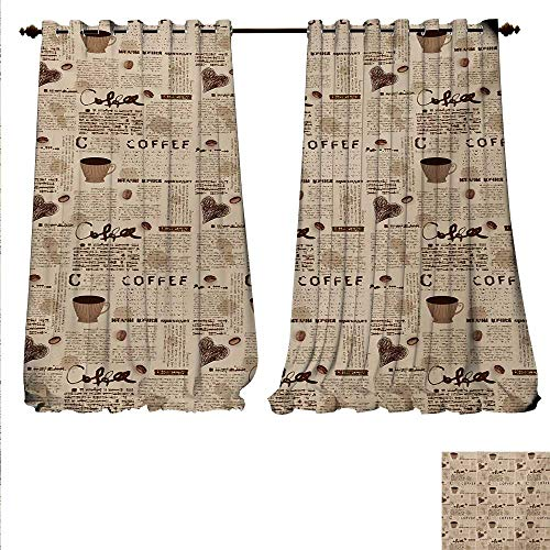 Coffee Candle Cup Mini Blend - familytaste Decorative Curtains for Living Room Newspaper Nostalgic Background with Coffee Cups and Writing Art Print Room Darkening Wide Curtains W72 x L108 Sand Brown and Umber.jpg