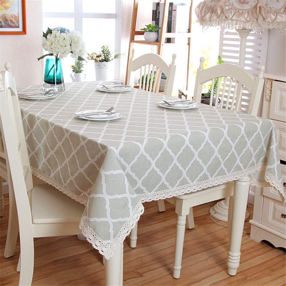 SONGHJ : Mantel de algodón de Lino Encaje Geometría Rombo Mantel Rectangular Banquete de Boda Lavable Mesa de Navidad Cubierta B 130x180cm: Amazon.es: Hogar