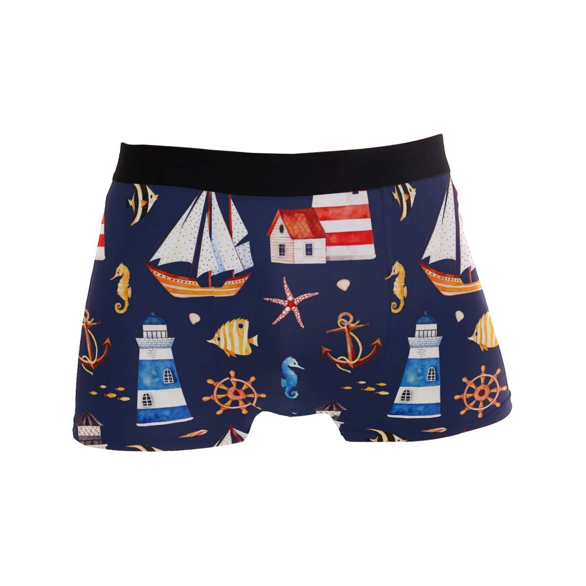 KUWT Starfish Anchor Lighthouses Sailboat Mens Boxer Briefs Underwear Comfortable Underpants for Mens Boys Youth