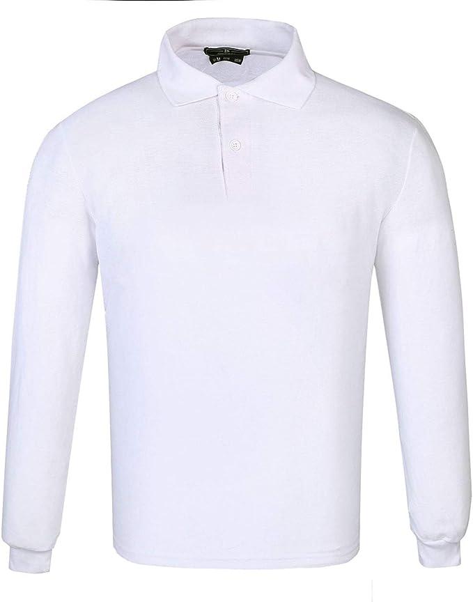 DONNAY Hombre Camiseta Polo Manga Larga De Algodón Blanco S ...