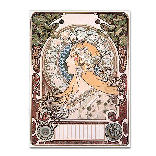 Zodiac by Alphonse Mucha, 24x32-Inch Canvas Wall Art
