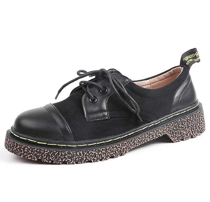 DANDANJIE Zapatos De Las Mujeres Con Cordones Mocasines De Tacón Bajo Zapatos Planos Para La Caída