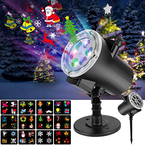 Christmas Projector Lights NockNock 12 Rotating Effect Slides LED Halloween Projector Light, Gift for Kid on Holiday Birthday Wedding Party Valentine, Water-Resistant and Easy to Use