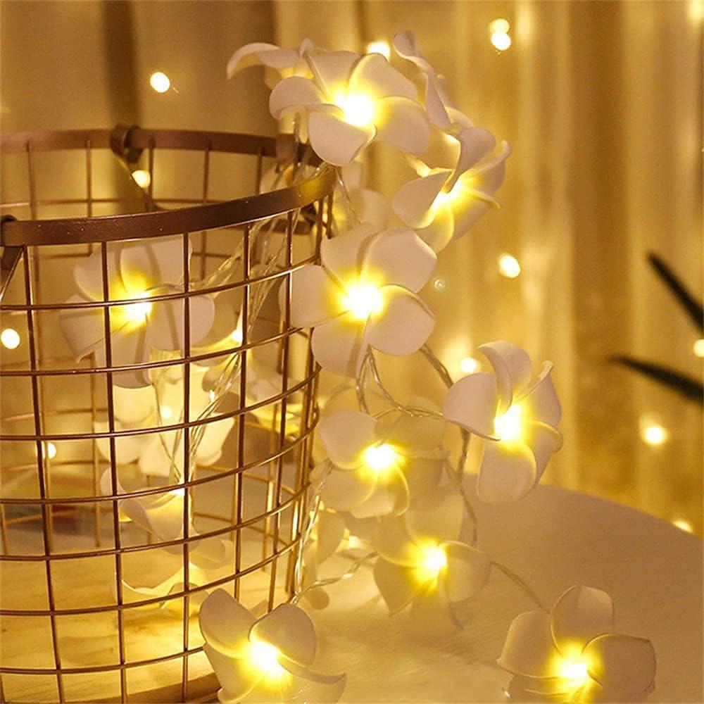 Runaup Flor de plumeria Cadena de luz 3M/9,8ft 20LED Blanco cálido Flor hawaiana Luz de hadas Bateria cargada Luces decorativas por Boda Fiesta Cumpleaños Festival
