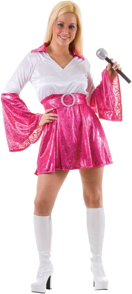 Dancing Queen 70s Abba Fancy Dress Costume Pink 8-10 (disfraz ...