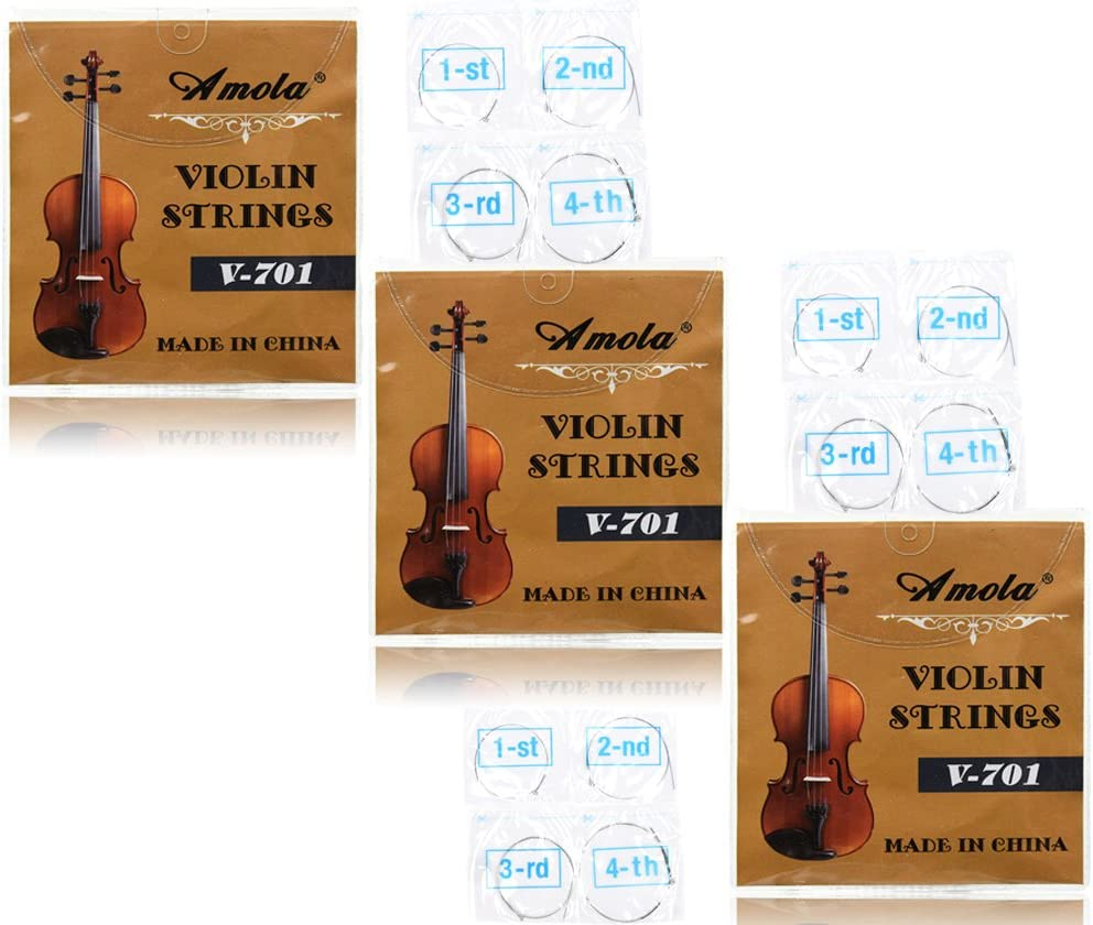 3 Packs Full Set Replacement Stainless Steel 4/4 Size Violin Strings E A D G 61rX4b46k1L