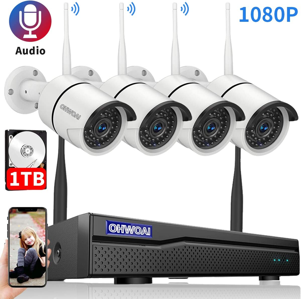 8CH Expandable.Audio Security Camera System Wireless Outdoor, 8 Channel 1080P NVR with 1TB Hard Drive, 4Pcs 1080P CCTV Cameras for Home,OHWOAI Surveillance Video Security System,Outdoor IP Cameras
