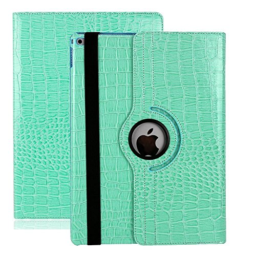 iPad Air 2 Estuche de Cuero para Negocios,elecfan ® SmartCase Sueño para iPad Air 2 / 360 Grados de Cuero Caso del Protector de Pantalla Soporte de la Cubierta (iPad Air 2, Negro) Azul