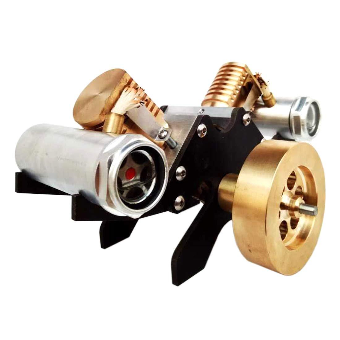 Yamix Stirling Engine Kit, V Shape Suction Type Double-Cylinder Vacuum Stirling Engine Motor Model Educational Toy
