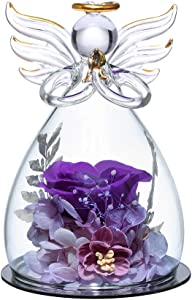 ANLUNOB Forever Purple Rose in Angel Glass Figurines Artificial Flower in A Glass Dome - Eternal Handmade Flowers Galaxy Rose Gifts for Women Christmas Wedding Valentine's Day Anniversary and Birthday