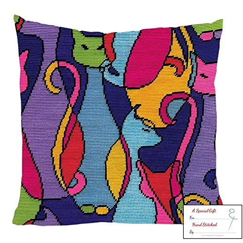 Design Works Colorful Cats Needlepoint Kit with Gift Card - Cat Needlepoint Pillow