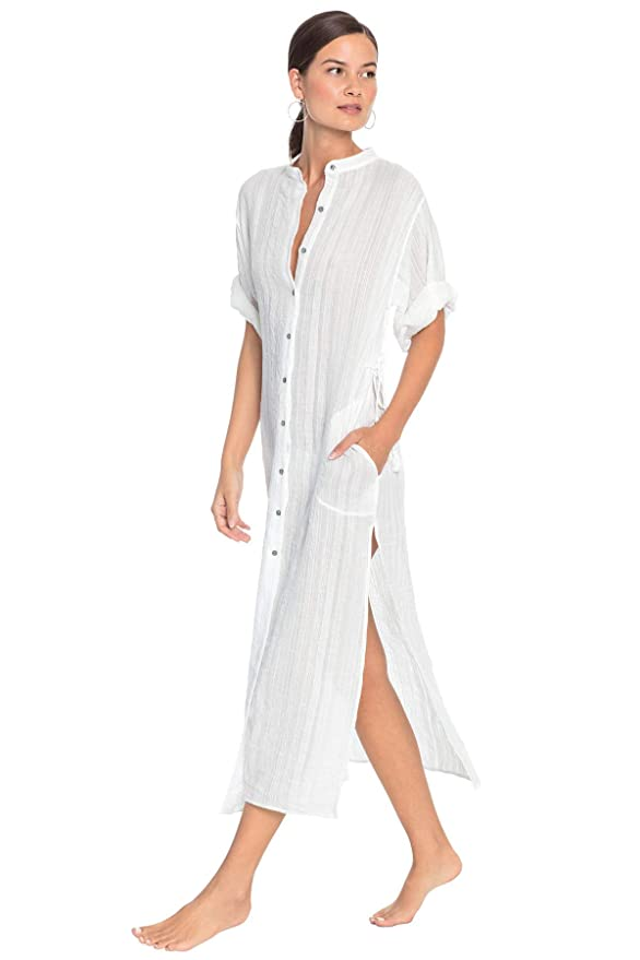 Robin Piccone Women's Michelle Mandarin Collar Caftan Swim Cover Up by Robin Piccone
