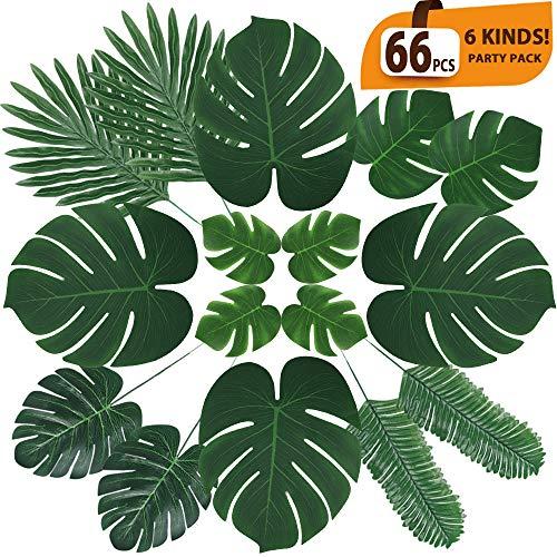 KSPOWWIN 36 Pcs 2 Kinds Artificial Palm Leaves Tropical Plant Faux Leaves Safari Leaves Hawaiian Luau Party Suppliers Decorations Hawaiian Jungle Beach Theme BBQ Party Decorations Supplies