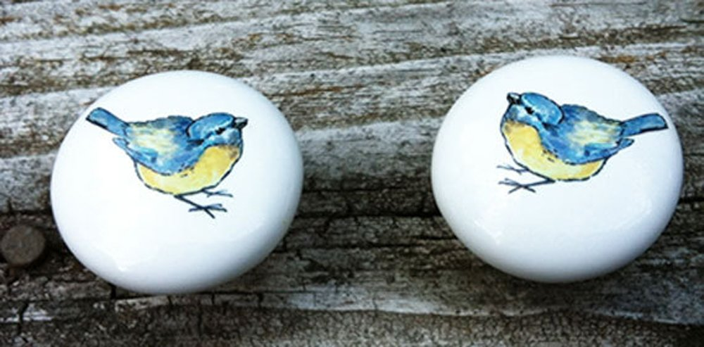 Bluebird Ceramic Knobs for Drawers or Cabinet