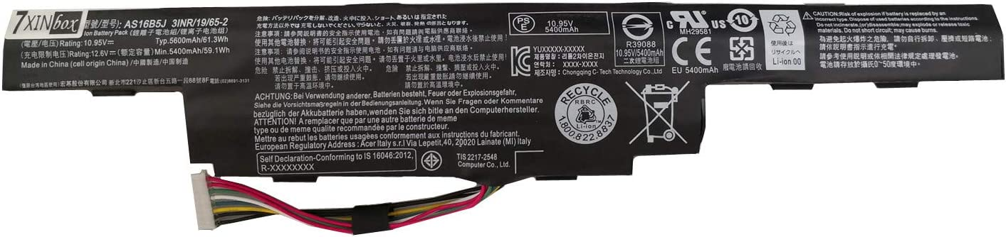 7XINbox 10.95V 61.3Wh 5600mAh AS16B5J AS16B8J Replacement Laptop Battery for Acer Aspire15.6 inch E5-575G E5-575G-53VG E5-575G-75MD E5-575G-5341 Series 3INR19/66-2 3ICR19/662-2
