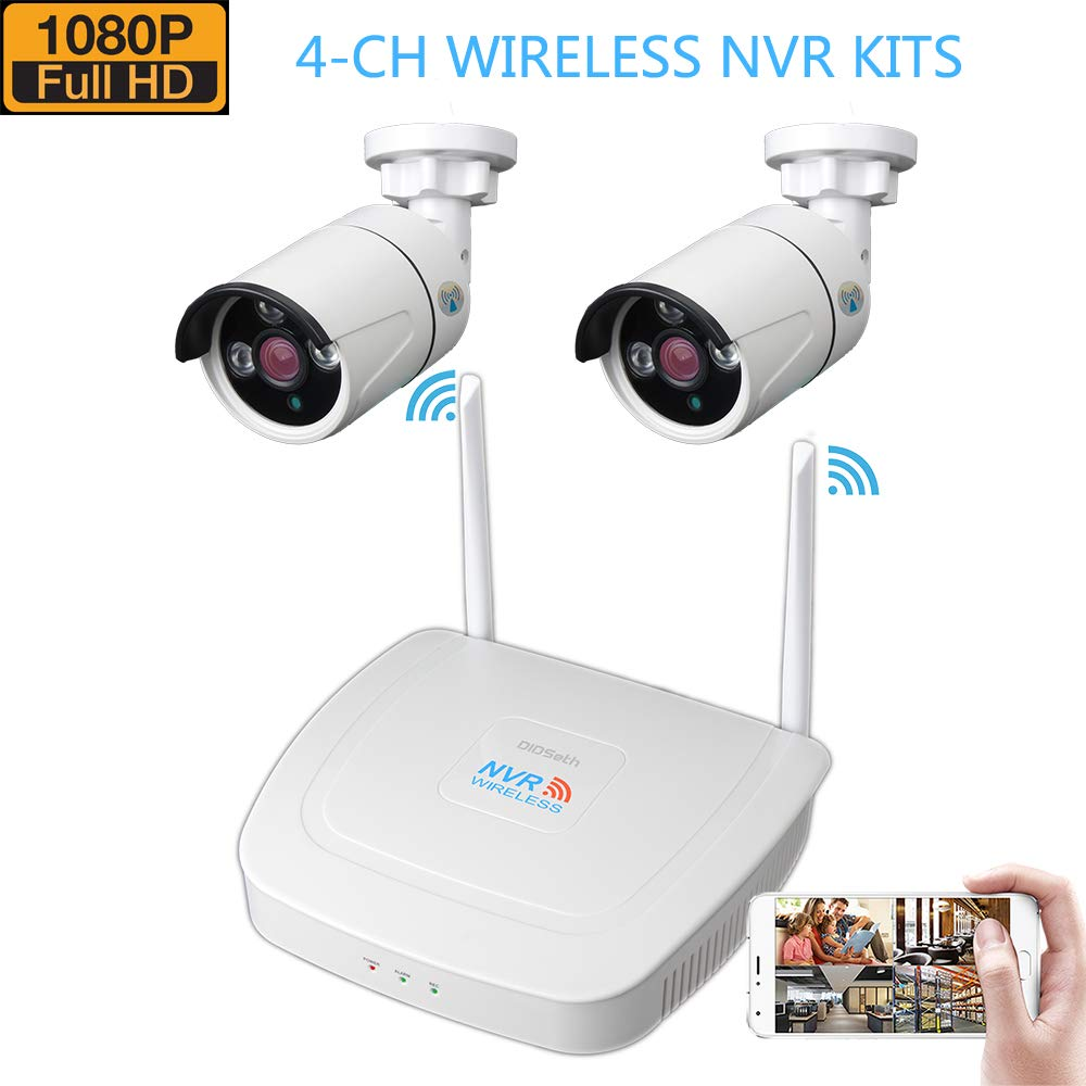 Wireless Security Camera System, 1080P 4CH NVR Surveillance System and 2 PCS 960P Wireless Surveillance Cameras IP66 Waterproof WiFi Transmission Distance up to 600m Remote View Via App