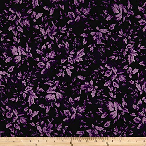 Maywood Studio Aubergine Tonal Leaves Fabric, Deep Blackberry, Fabric By The Yard