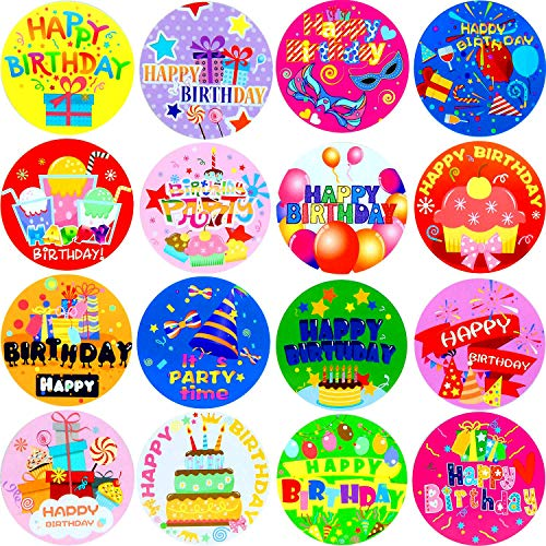 Zonon 500 Pieces Happy Birthday Roll Stickers Personalized Birthday Party Labels for Kids Adults Party Favor, Envelopes, Cards, 16 Styles