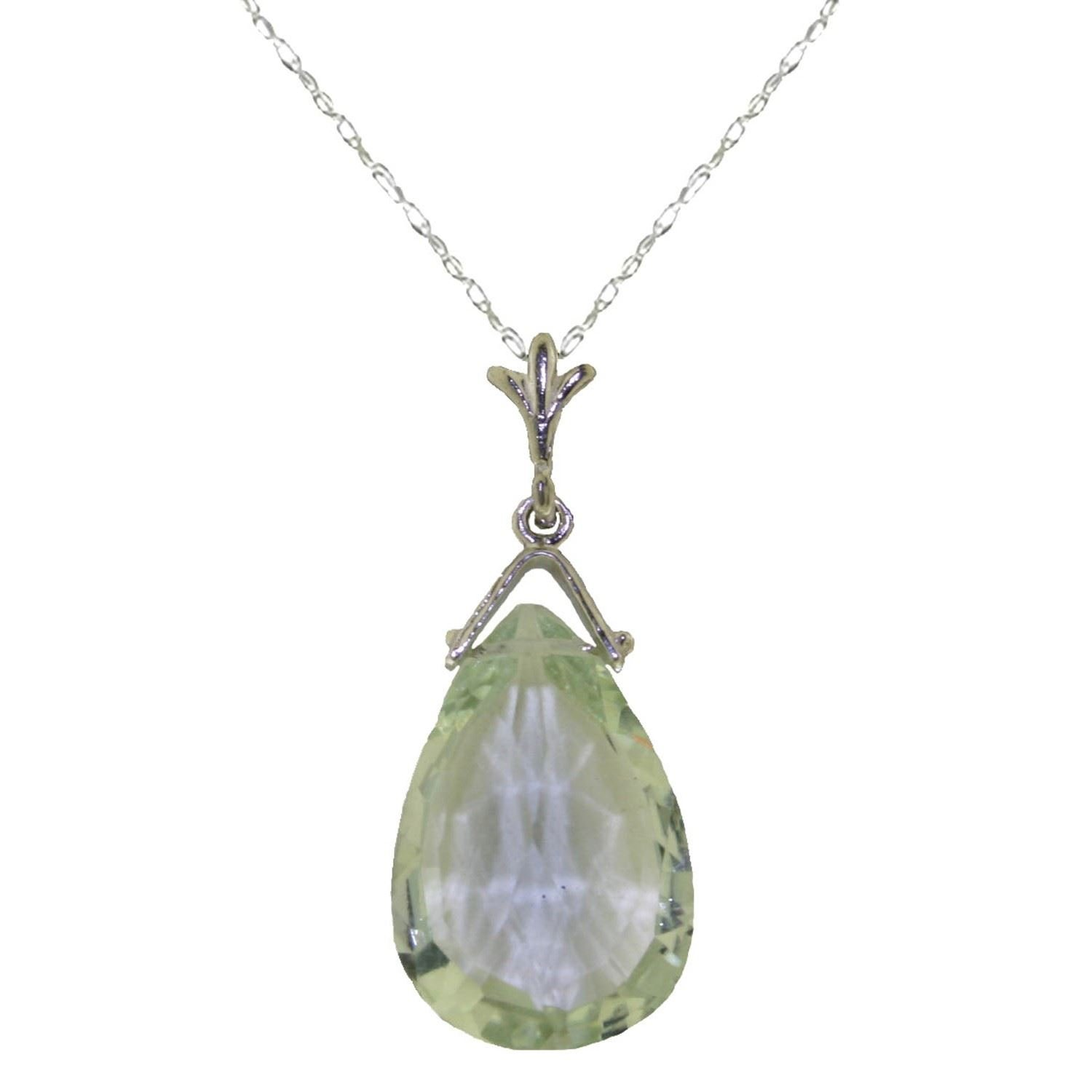 ALARRI 5.1 Carat 14K Solid White Gold Necklace Briolette Green Amethyst with 18 Inch Chain Length by ALARRI (Image #2)