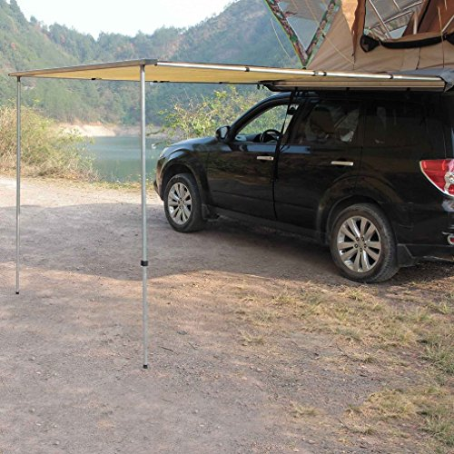 CATUO 420D Car Awning with a Carrying Bag, Heavy Duty Portable Folding Retractable Automotive Rooftop Awnings for SUV Truck Car Travel Camping Outdoor -8.2 x 8.2 feet ()