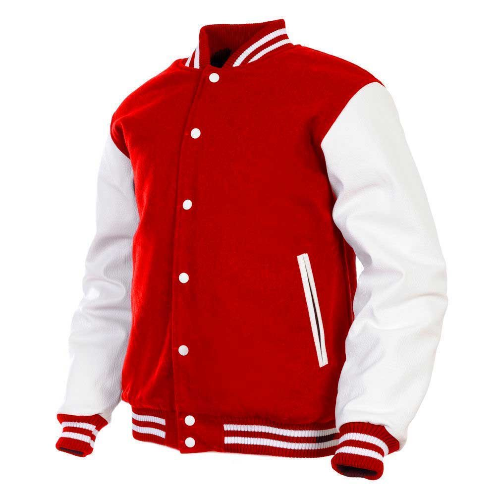 Men's Varsity Jacket Genuine Leather Sleeve and Wool Blend Letterman Boys College Varsity Jackets (Red(AR-2), XX-Large) by Deckra