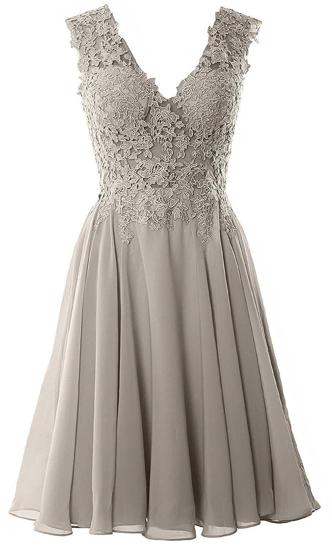 Beyonddress Damen Chiffon Abendkleider Elegant Kurz Spitze Brautjungfernkleider V-Ausschnitt Ballkleider Cocktailkleider