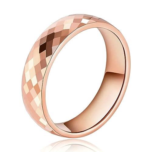 Daesar Joyería Anillo Acero de Tungsteno Hombre Diamante Forma Alianzas Boda Compromiso Pedida Oro Rosa Talla 17: Amazon.es: Joyería