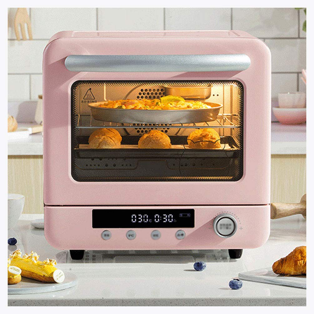 MDEOH Multi-Function Electric Oven Household Hot Air Baking Smart Screen Display Double Layer with Baking 20 Liters Capacity 1300 Watts, Pink