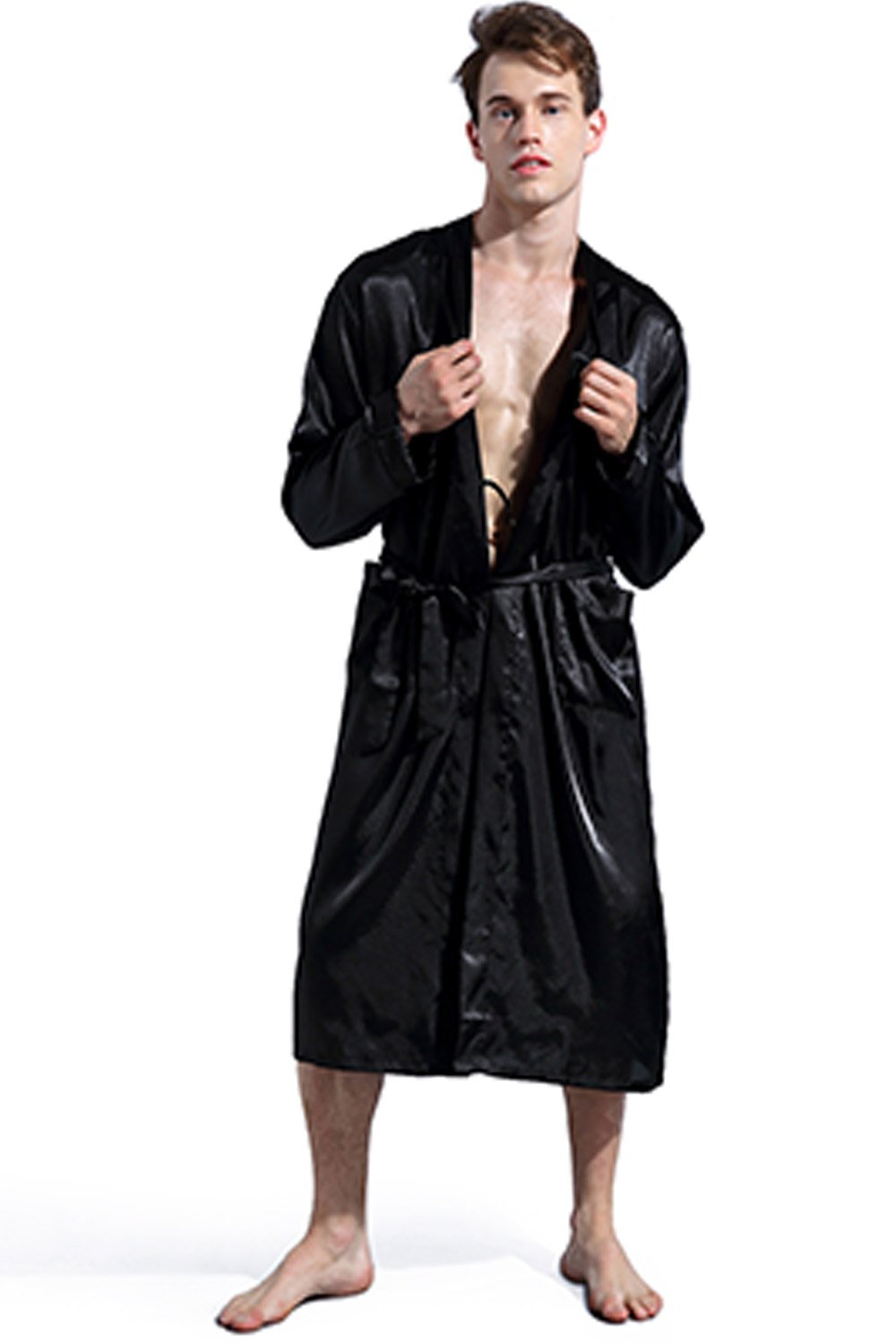 LANBAOSI Men Satin Silk Robe Long Sleeve Pajamas Shawl Collar Gown Sleepwear