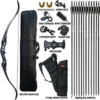 D&Q - Juego de arco y flecha para caza y caza para adultos, kit de tiro con arco para caza, práctica de competición, supervivencia, paquete de arco largo para 30 35 40 45 50 libras, diestro, con flecha de cuerda