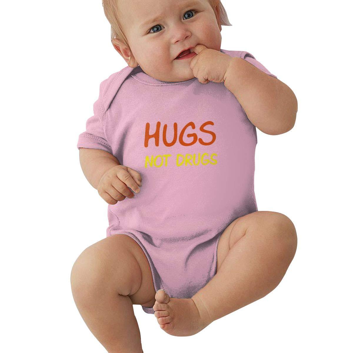 Hugs Not Drugs Logo Retro Newborn Baby Short Sleeve Bodysuit Romper Infant Summer Clothing Black