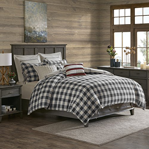 MADISON PARK SIGNATURE Willow Oak Reversible Cotton Comforter Set, King, Grey (Willow King Comforter)