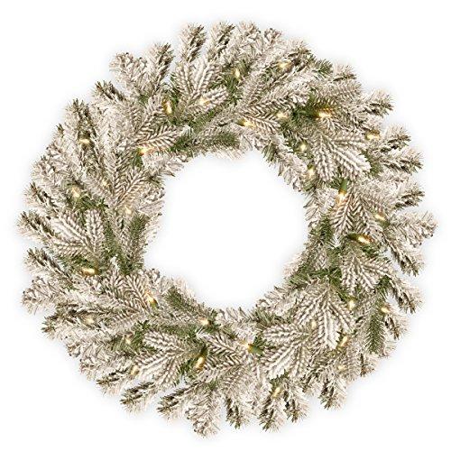 National Tree Pine 24 Inch Feel Real Snowy Sheffield Spruce Wreath -  PESL3-307-24W-B