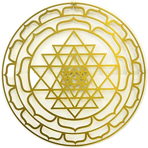 CANDIKO Sri Yantra Stainless Steel Metal Wall Art Sacred Geometry Symbol Decor 12 inch Gold