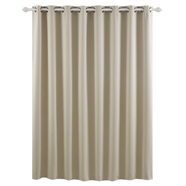 Deconovo Blackout Drape Wide Width Grommet Curtains Bedroom Curtains for Windows 100W x 84L Inch Beige 1 Panel