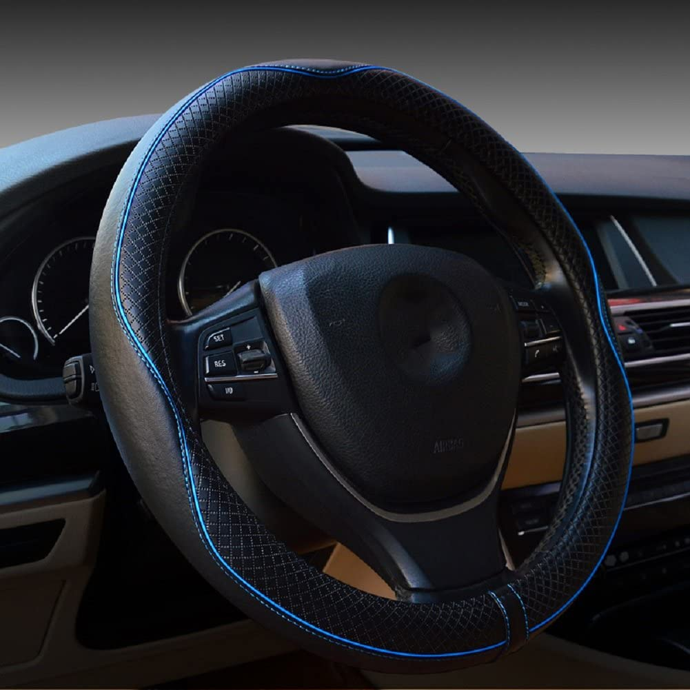 Valleycomfy Universal 15 inch Auto Car Steering Wheel Cover with Black Genuine Leather add Blue Lines for Escape Fusion Focus Corolla Prius Rav4 Tacoma Camry,etc.