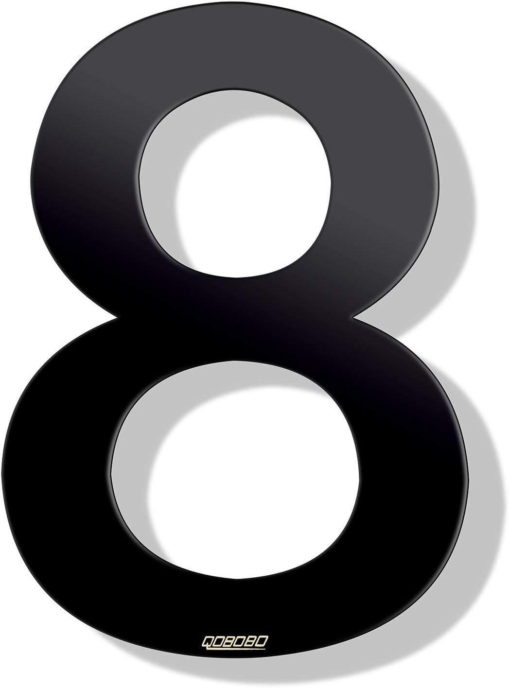 1 St/ück qobobo/® Edelstahl Hausnummern 4 Vier Hausnummernschild Anthrazit Schwarz Stra/ße Nummer Bespr/üht mit Matt Schwarz pulvert 200mm