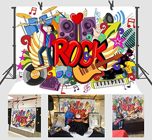 FUERMOR Background 7x5ft Rock Music Graffiti Photography Backdrop