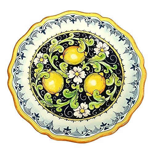 CERAMICHE D'ARTE PARRINI - Italian Ceramic Art Pottery Serving Plate Dish Food Hand Painted Decorated Lemons Made in ITALY (Ceramic Lemon)