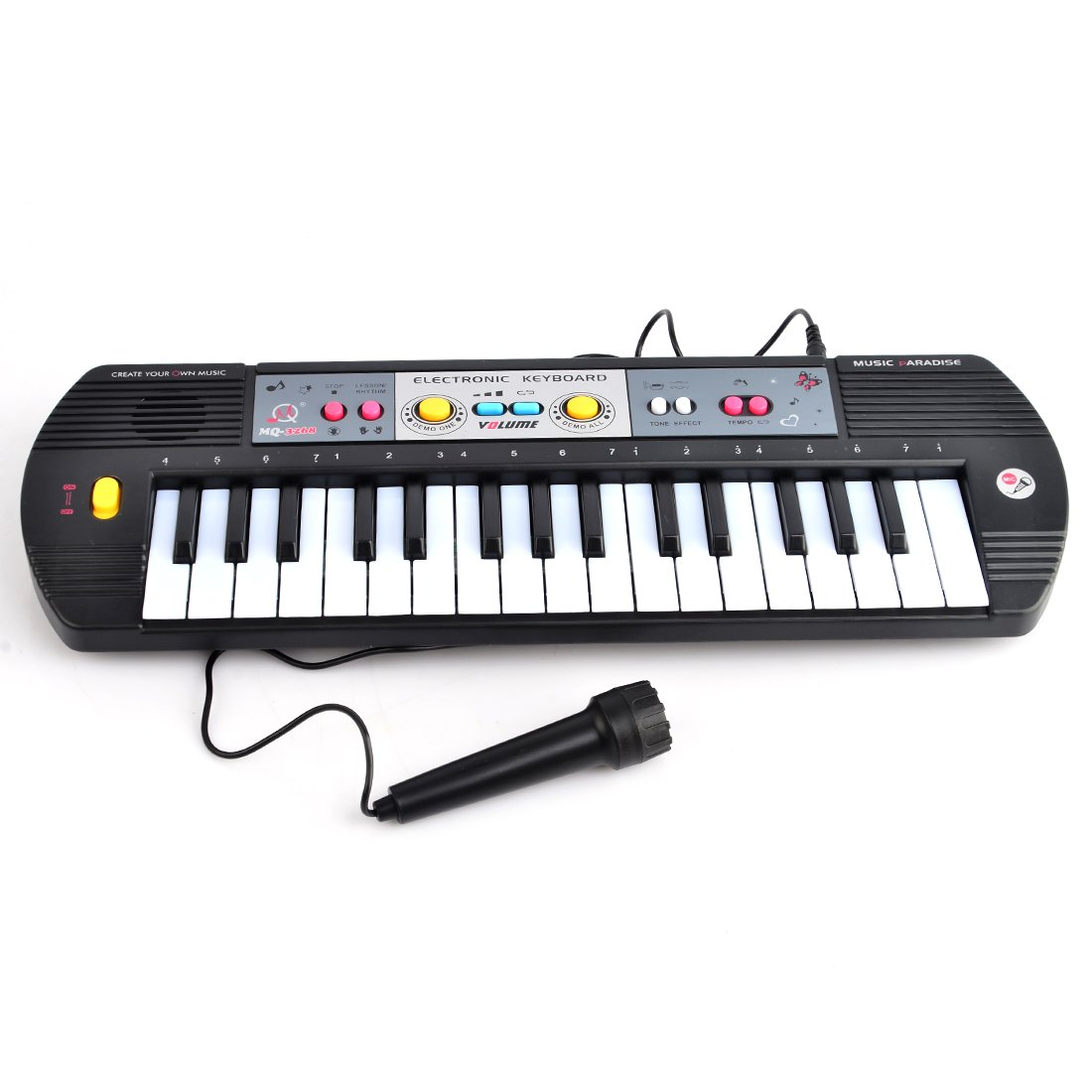 Electronic Keyboard, Yamix 32 Key Small Electronic Keyboard Piano Organ Early Educational Toy with Microphone For Kids Children - Black