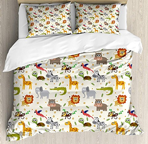 Cartoon Animal 4 Pieces Duvet Cover Set, African Australian Childish Fauna Silly Faces Safari Lion Elephant Crocodile, Decorative Quilt Bed Sheet with 2 Pillow Cases Covers (No Comforter), (Queen) ()