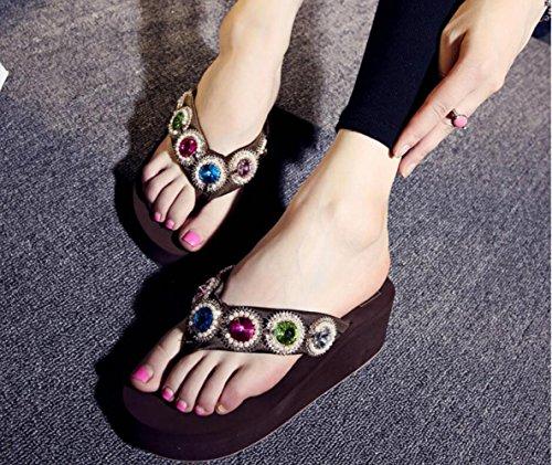 à des D'été Anti Semelles Chaussures Décontractées Romaines Femmes Chaussures 5 Strass Simples à Cool Broche Hauts Brown de Mode Tongs Talon Dérapant Sandales Cm CHENGXIAOXUAN 5 Sandales Talons Plage 675zwq
