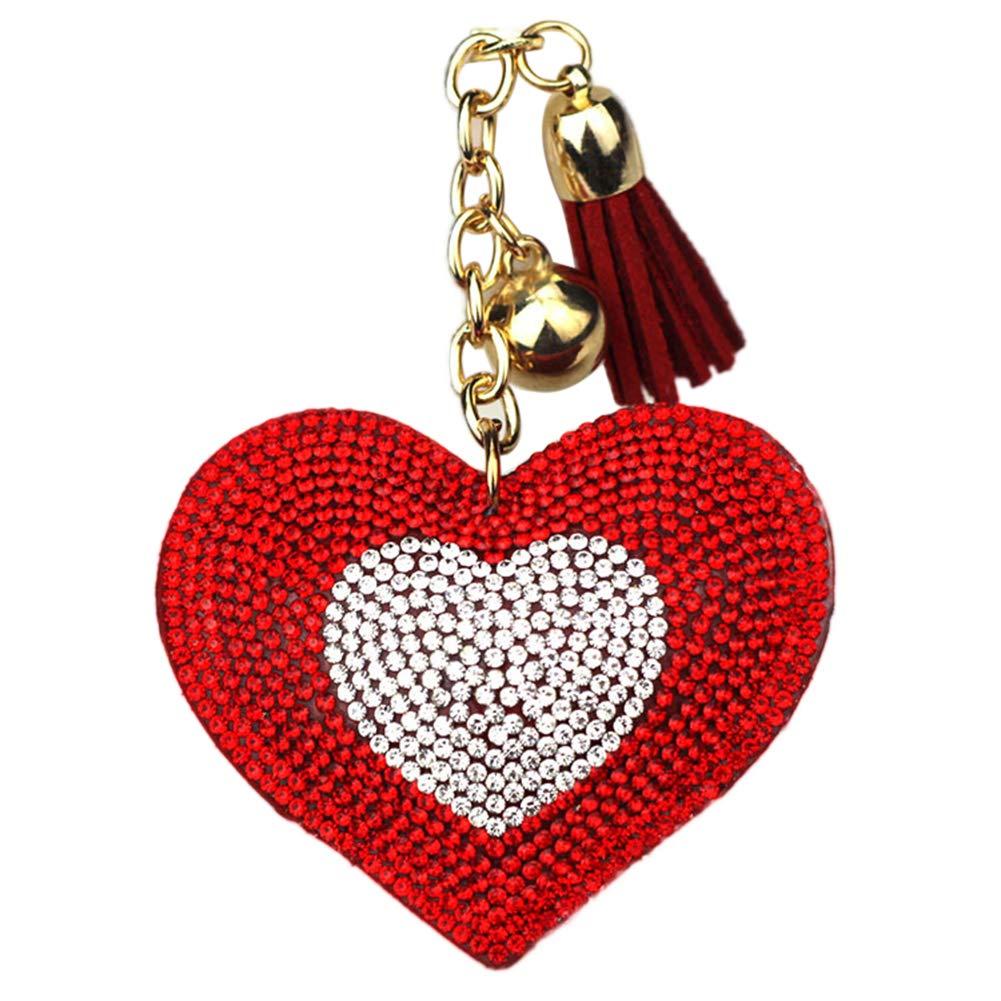 YUnnuopromi Femme Exquise Cœ ur Pendentif Strass Tassel Porte-clé s Cadeaux pour Le Sac de Voiture Ornement Red