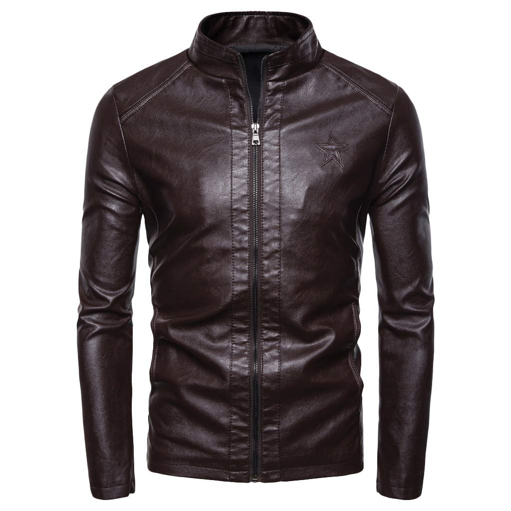 Men's Long Sleeve Leather Jacket, Males Solid Zipper Slim Fit Casual Coat Plus Size Outwear Tops by cobcob men's Coat