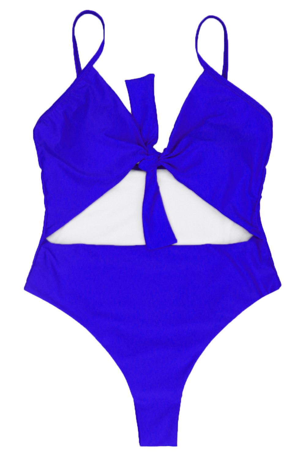 LEISUP Womens Plus Size V Neck Self Tie Knot HIgh Waisted One Piece Swimsuit XL by LEISUP (Image #4)