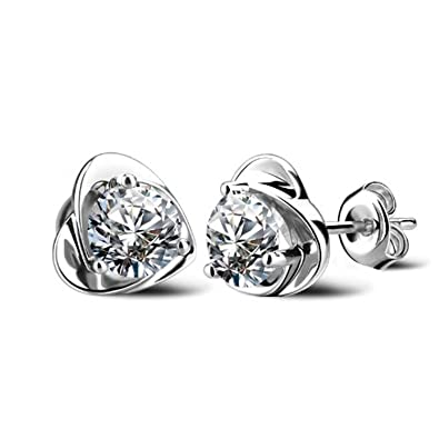 joyliveCY Korean Style Small Rose Shape 925 Silver Plated Earring Ear Stud For Girls SbXuvR