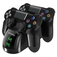 Ladestation für PS4 Controller 2 PlayStation 4 Dualshock Controller mit LED Anzeige für Sony PlayStation 4/PS4 Slim Pro kabellosen Controller Gamepad, Schwarz