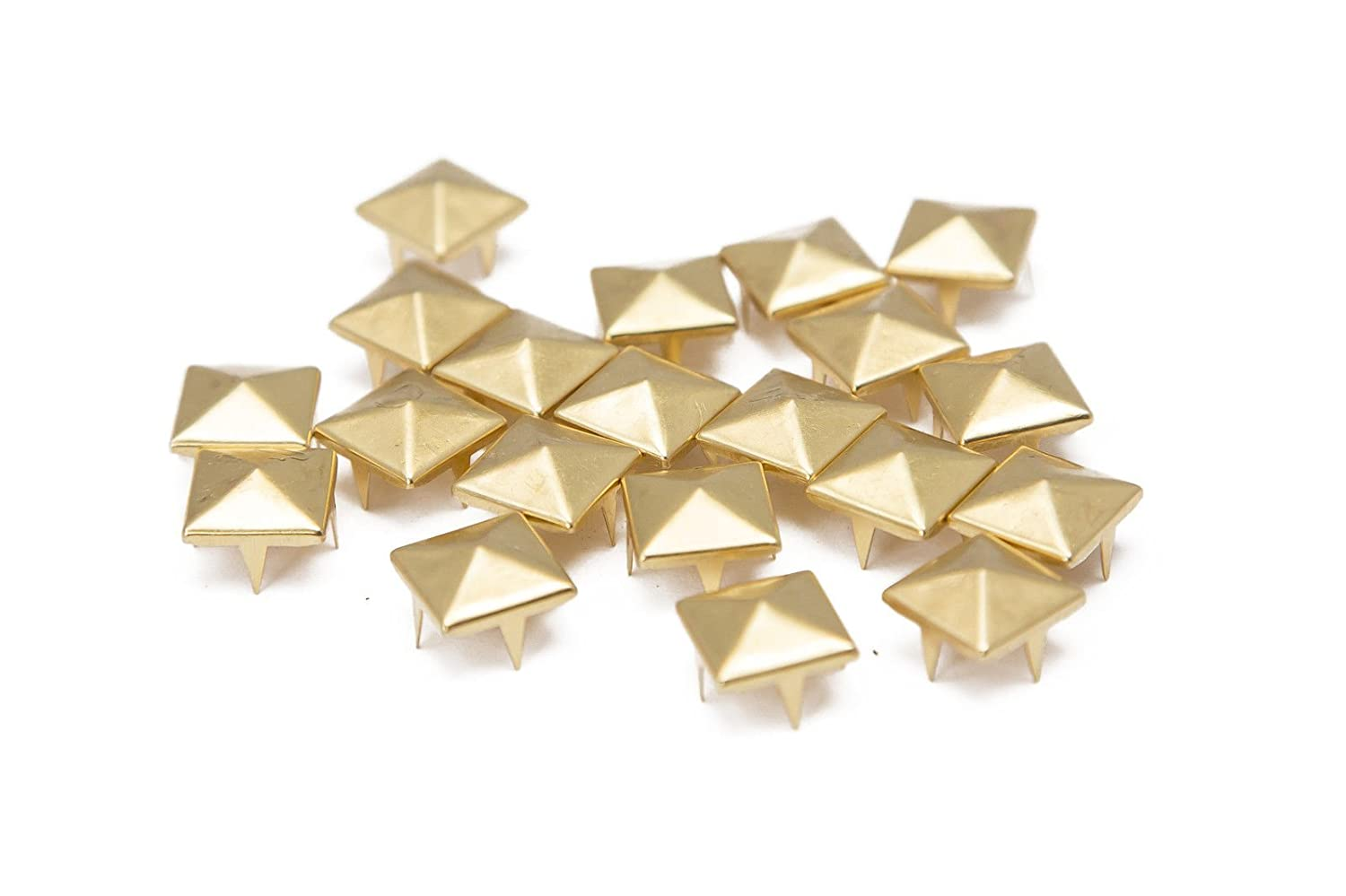 Trimming Shop 100 Pieces Gold Pyramid Studs Hand Pressed Or Machine Set Rivets Suitable For Leather Crafting Decorating And Repairing 6mm   B01CTKKVJS